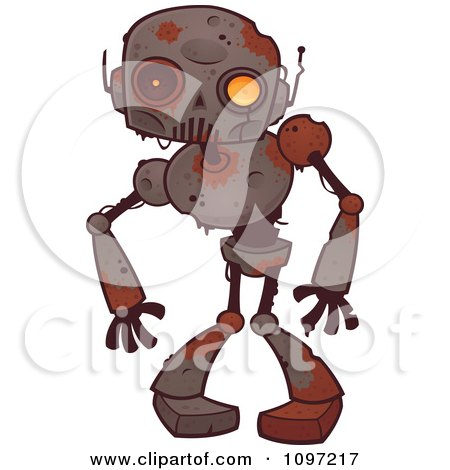 Clipart Creepy Zombie Robot - Royalty Free Vector Illustration by John Schwegel