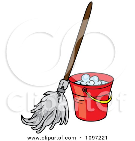 Clipart Mop Resting Against A Red Cleaning Bucket - Royalty Free Vector Illustration by Pams Clipart