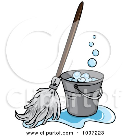 cleaning mop bucket clipart pages puddle resting toilet roll paper floor clean colouring small vector coloring spill
