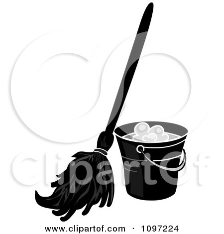 Clipart Black And White Mop Resting Against A Cleaning Bucket - Royalty Free Vector Illustration by Pams Clipart