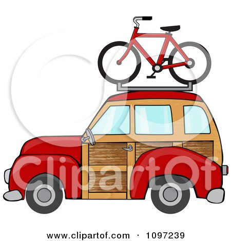 Clipart Red Woodie Station Wagon With A Bicycle On Top - Royalty Free Vector Illustration by djart