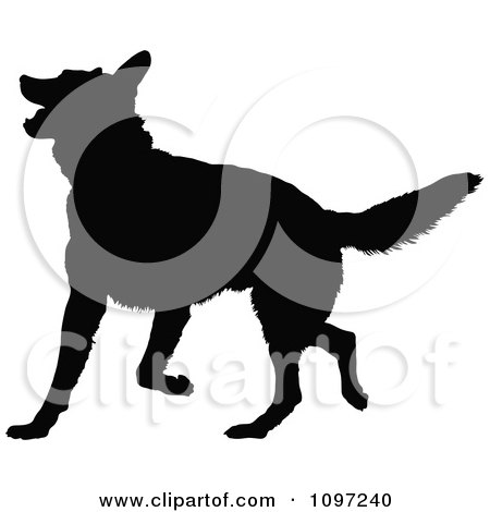 Clipart Black Silhouette Of A Playful German Shepherd Dog - Royalty Free Vector Illustration by Maria Bell