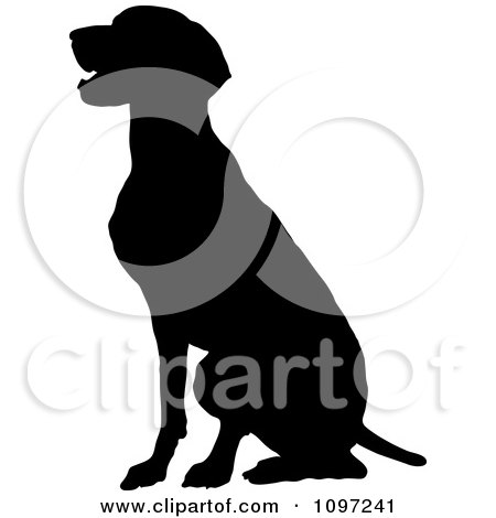 Clipart Black Silhouette Of A Sitting German Pointer Dog - Royalty Free Vector Illustration by Maria Bell