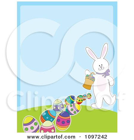 Clipart Cute White Easter Bunny Carrying A Basket And Leaving A Trail Of Eggs With Copyspace On Blue - Royalty Free Vector Illustration by Maria Bell