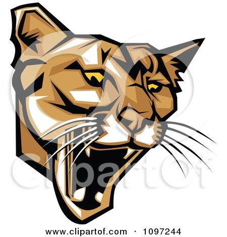 Clipart Fierce Puma Mascot Head - Royalty Free Vector Illustration by Chromaco