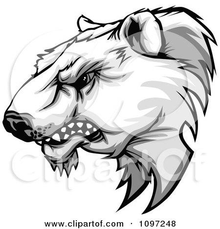 Aggressive Polar Bear Mascot Head Growling Posters, Art Prints