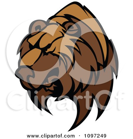 Clipart Fierce Brown Bear Mascot Head - Royalty Free Vector Illustration by Chromaco