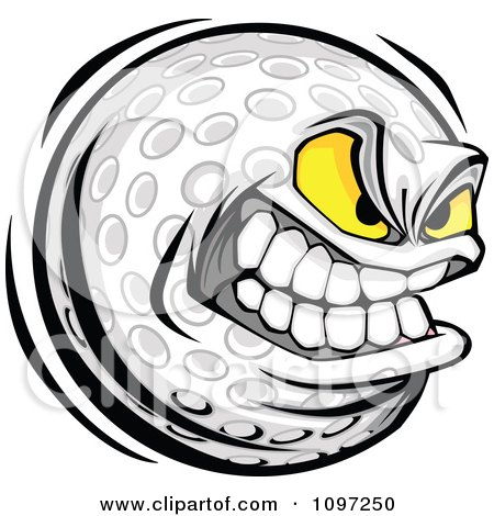 Clipart Aggressive Grinning Golf Ball Mascot - Royalty Free Vector Illustration by Chromaco