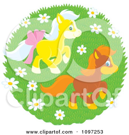 Clipart Two Cute Ponies Playing In A Spring Meadow With Wildflowers - Royalty Free Vector Illustration by Alex Bannykh