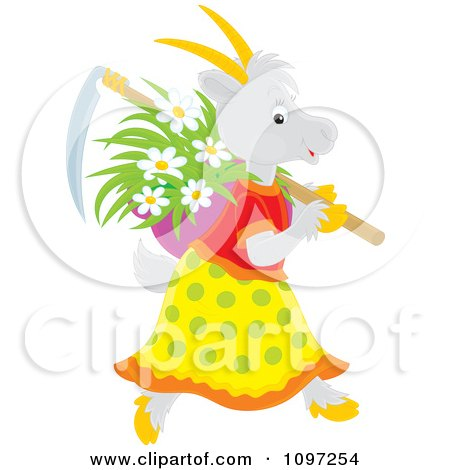 Clipart Female Gardening Goat Carrying A Scythe And Basket Of Flowers - Royalty Free Vector Illustration by Alex Bannykh