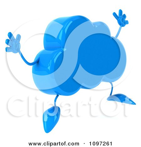 Clipart 3d Blue Cloud Character Jumping - Royalty Free CGI ...