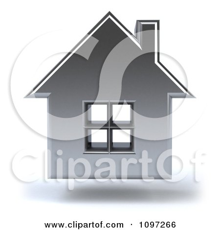 Clipart 3d Floating Silver House - Royalty Free CGI Illustration by Julos