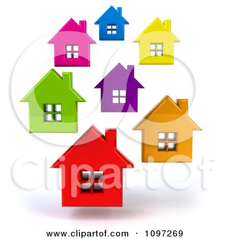 Clipart Neighborhood Of 3d Floating Colorful Houses - Royalty Free CGI Illustration by Julos