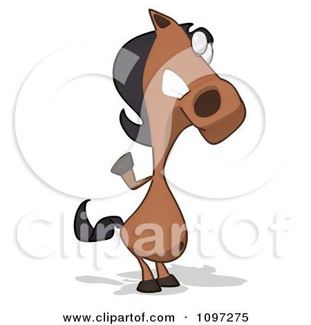 Clipart Charlie Horse Cartoon Waving - Royalty Free CGI Illustration by Julos