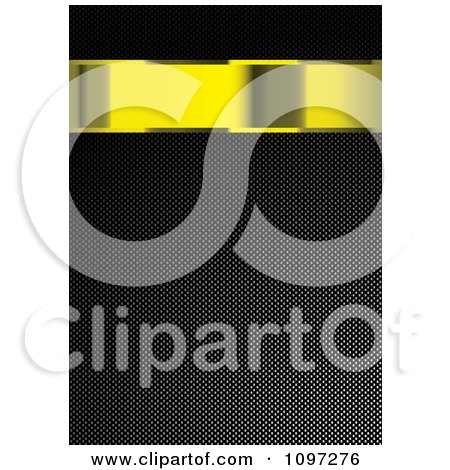 Clipart 3d Gold Banner Over A Carbon Fiber Texture - Royalty Free Vector Illustration by michaeltravers