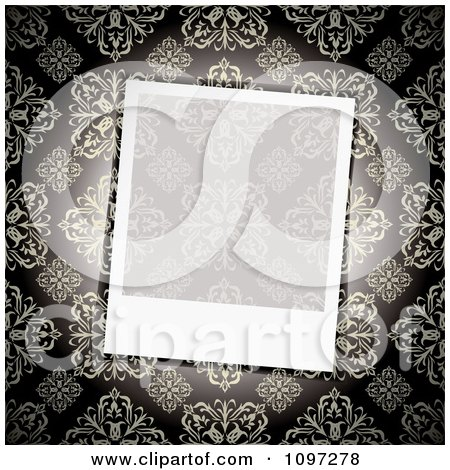 Clipart Blank Transparent Instant Photo Frame Over A Floral Pattern - Royalty Free Vector Illustration by michaeltravers
