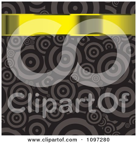 Clipart 3d Gold Banner Over A Brown Retro Circle Pattern - Royalty Free Vector Illustration by michaeltravers