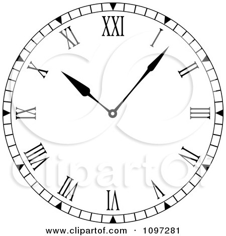 Clipart Black And White Roman Numeral Clock Face - Royalty ...