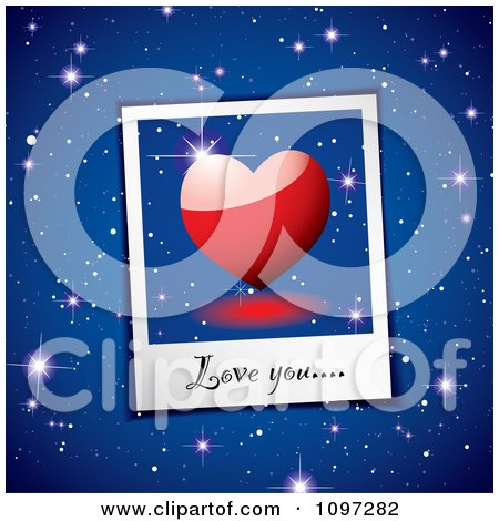 Clipart Love You Written On A Heart Instant Photo Over Blue Stars - Royalty Free Vector Illustration by michaeltravers