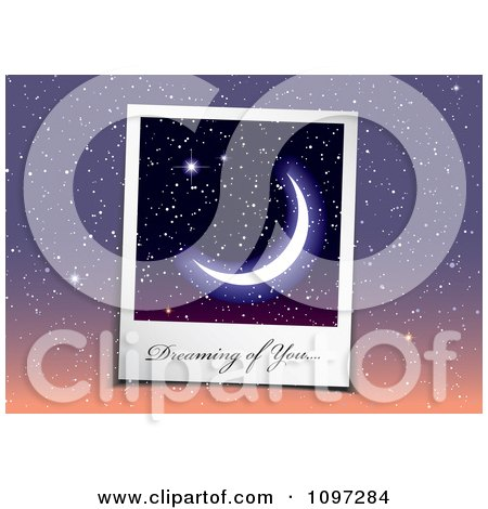 Clipart Dreaming Of You You Written On A Crescent Moon Instant Photo Over Dusk Stars - Royalty Free Vector Illustration by michaeltravers