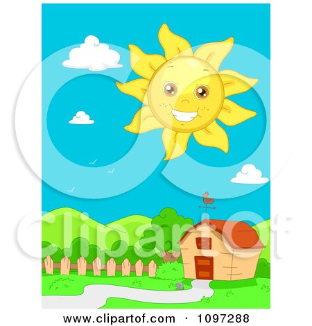 Clipart Happy Sun Smiling Over A Barn And Hilly Landscape - Royalty Free Vector Illustration by BNP Design Studio