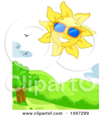 Clipart Happy Sun Wearing Shades In The Sky With Birds Over Hills - Royalty Free Vector Illustration by BNP Design Studio