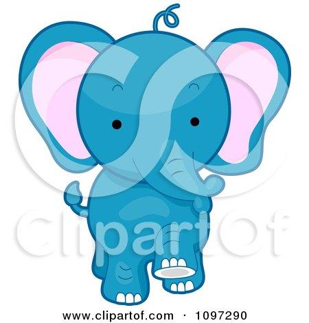 Clipart Cute Blue Elephant Walking Forward - Royalty Free Vector Illustration by BNP Design Studio