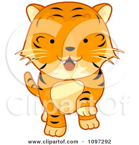 Clipart Cute Tiger Walking Forward - Royalty Free Vector Illustration by BNP Design Studio