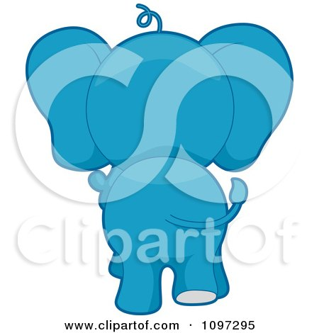 Clipart Blue Elephant Walking Away - Royalty Free Vector Illustration by BNP Design Studio