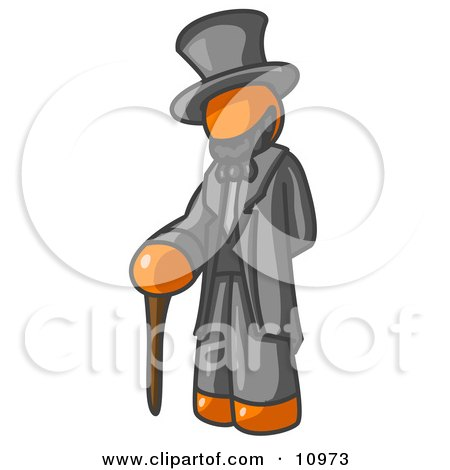 Orange Man Depicting Abraham Lincoln With a Cane Clipart Illustration by Leo Blanchette