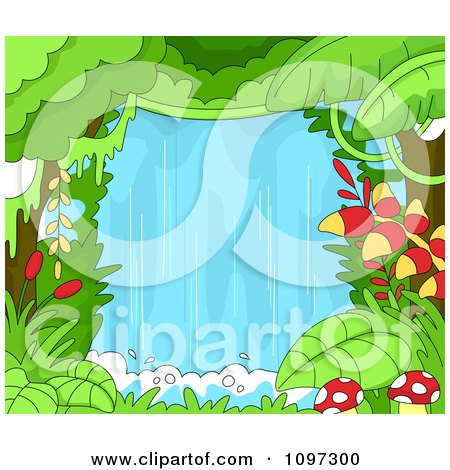 Clipart Lush Rainforest Jungle With A Waterfall - Royalty Free Vector Illustration by BNP Design Studio