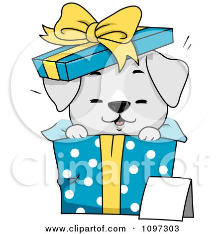 Clipart Cute Gray Puppy Popping Out Of A Polka Dot Gift Box - Royalty Free Vector Illustration by BNP Design Studio