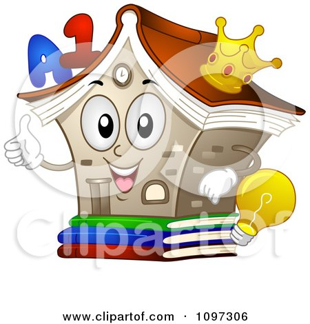 Clipart Happy Library Mascot Holding A Thumb Up - Royalty Free Vector Illustration by BNP Design Studio