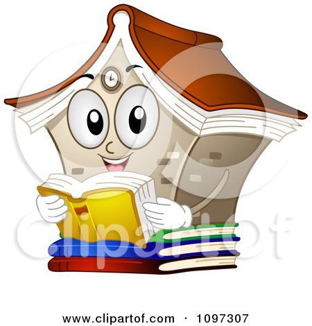 Clipart Happy Library Mascot Reading A Book - Royalty Free Vector Illustration by BNP Design Studio