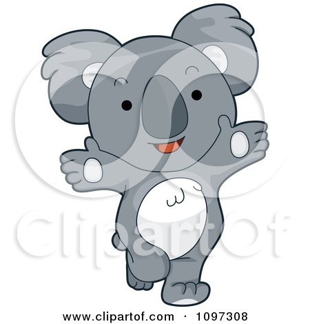 Clipart Cute Happy Koala With Open Arms - Royalty Free Vector Illustration by BNP Design Studio