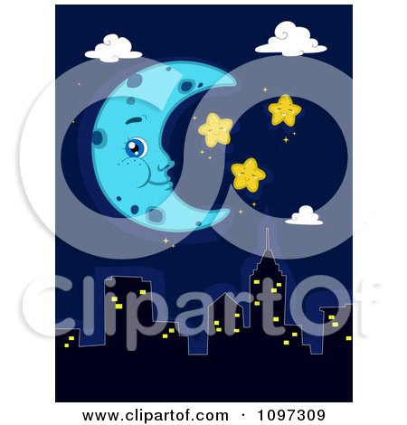 Clipart Blue Crescent Moon And Happy Stars Over A City Skyline - Royalty Free Vector Illustration by BNP Design Studio
