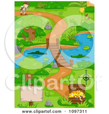 Clipart Boy Following A Path Near A Swamp And Footbridge That Leads To Treasure - Royalty Free Vector Illustration by BNP Design Studio