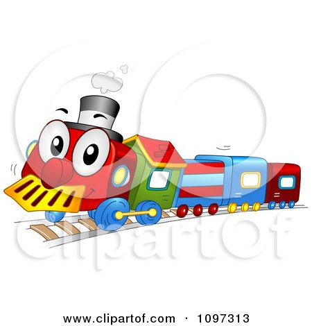 Clipart Colorful Happy Toy Train Character Royalty Free Vector Illustration