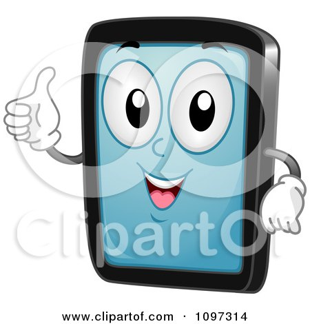 Clipart Happy Tablet Computer Mascot Holding A Thumb Up - Royalty Free Vector Illustration by BNP Design Studio