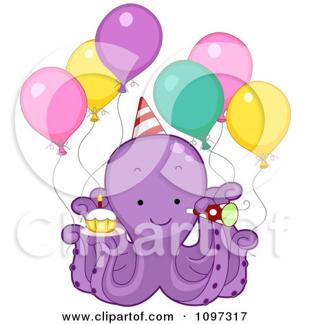 Clipart Cute Purple Octopus With Party Balloons A Cupcake Horn And Hat - Royalty Free Vector Illustration by BNP Design Studio