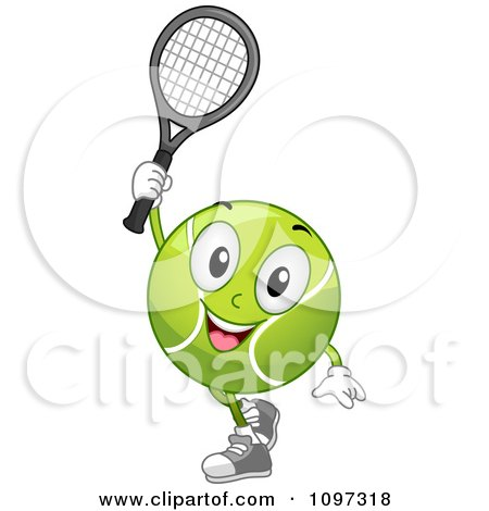 Clipart Happy Tennis Ball Mascot Holding A Racket - Royalty Free Vector Illustration by BNP Design Studio