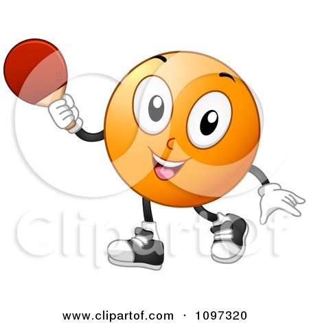 Clipart Happy Table Tennis Or Ping Pong Ball Holding A Paddle - Royalty Free Vector Illustration by BNP Design Studio