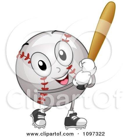 Clipart Happy Baseball Mascot Holding A Bat - Royalty Free Vector Illustration by BNP Design Studio
