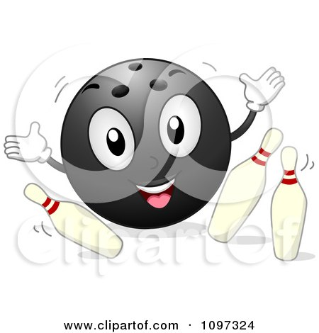 Clipart Happy Bowling Ball Mascot Knocking Over Pins - Royalty Free Vector Illustration by BNP Design Studio