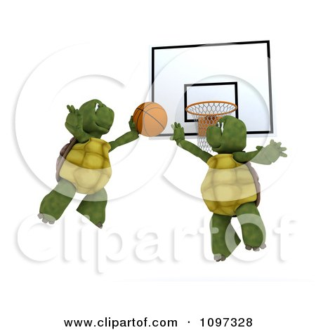Clipart 3d Tortoises Flying Towards A Basketball Hoop - Royalty Free CGI Illustration by KJ Pargeter