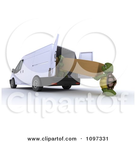 Clipart 3d Tortoises Loading Or Delivering A Large Package Into Or Out Of A Moving Van - Royalty Free CGI Illustration by KJ Pargeter