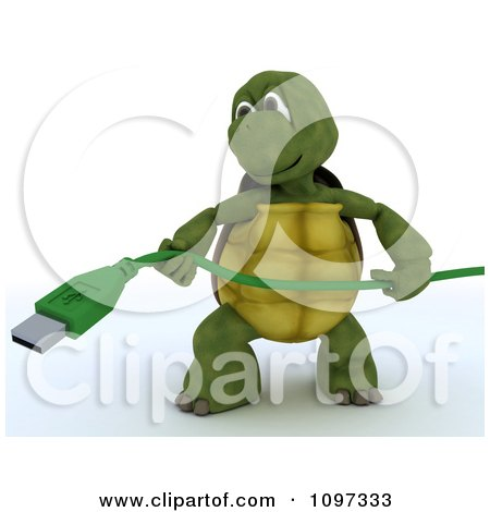 Clipart 3d Tortoise Holding A Green Computer Usb Cable - Royalty Free CGI Illustration by KJ Pargeter