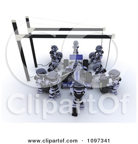 Clipart 3d Team Of Robots Working On A Race Car In A Pit Stop - Royalty Free CGI Illustration by KJ Pargeter