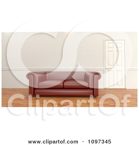 Clipart 3d Leather Sofa By A Door In A Room With Wood Floors - Royalty Free CGI Illustration by KJ Pargeter