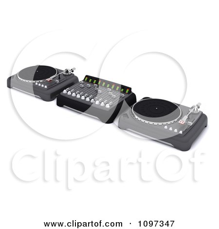 Clipart 3d Dj Mixing Desk Turn Tables And Speakers - Royalty Free CGI Illustration by KJ Pargeter